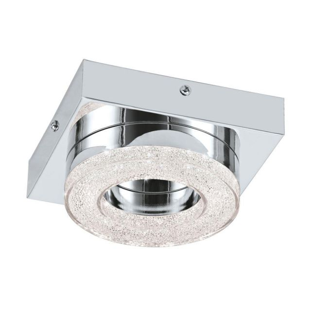 Eglo 95662 Fradelo Round LED Wall/Ceiling Light In Chrome And Crystal - L: 140mm