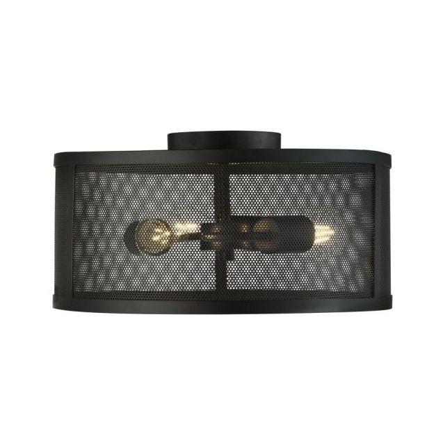 Searchlight 2843-3BK Fishnet 3 Light Flush Ceiling Light In Matt Black