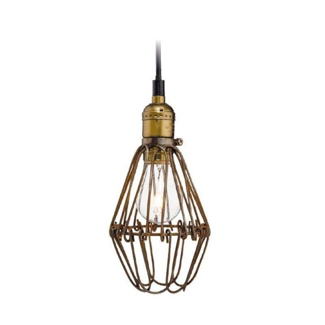 Firstlight Arcade 3446RB Rustic Brown Cage Ceiling Pendant Light