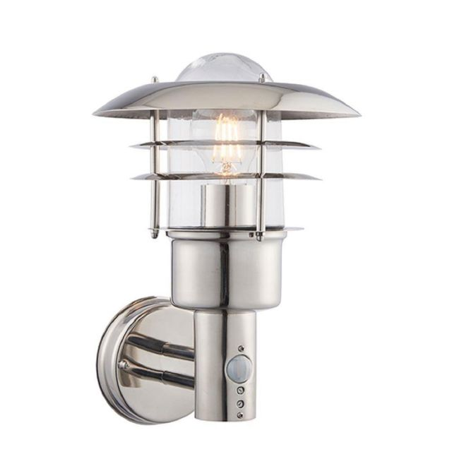 Endon 74702 Dexter 1 Light Outdoor Wall Light In Polished Stainless Steel With PIR