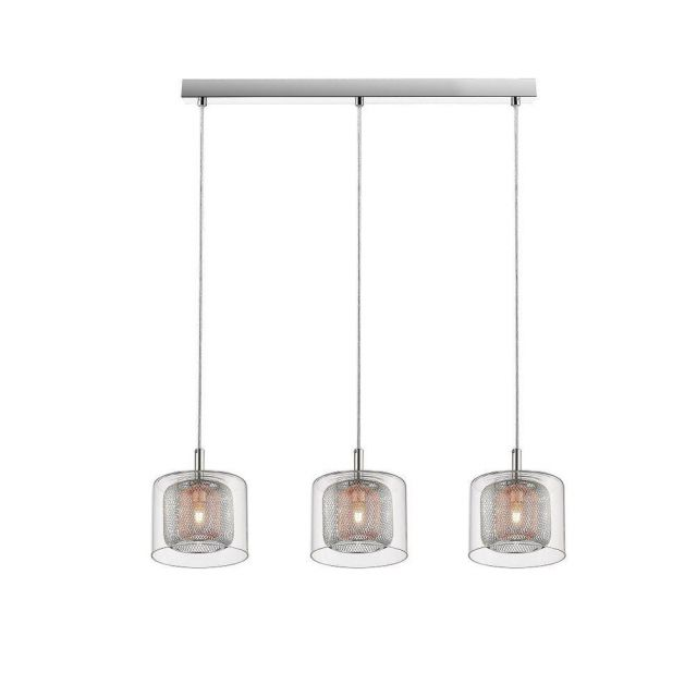Impex PGH606101/03/CU/CH Laure Three Light Ceiling Bar Light In Chrome And Copper