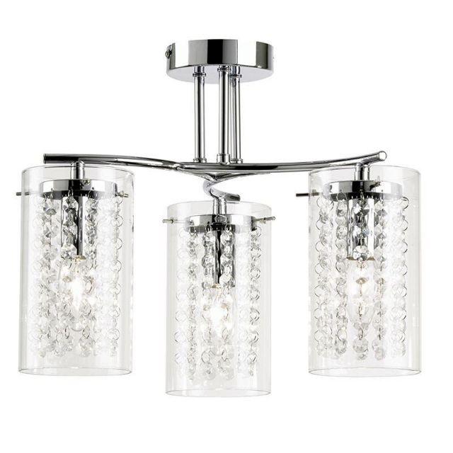 Endon ALDA-3CH Alda Clear Glass and Chrome Semi Flush Ceiling Light