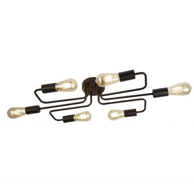 Searchlight 9926-6BK Circuit 6 Light Flush Ceiling Light In Matt Painted Black