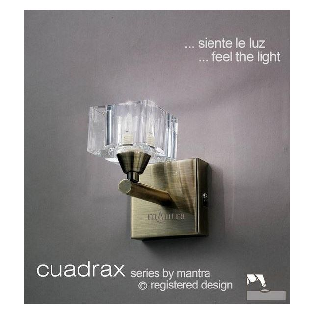 M2363AB/S Cuadrax 1 Light Antique Brass Switched Wall Lamp