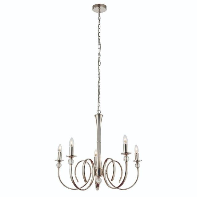 Interiors 1900 73908 Fabia 5 Light Ceiling Pendant In Polished Nickel - Fitting Only