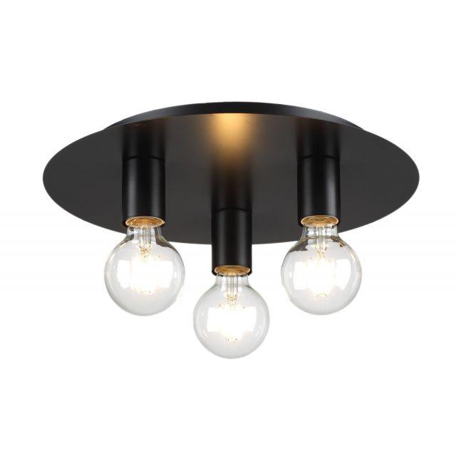 Modern Matt Black Vintage Edison Industrial Retro 3 Way Ceiling Light