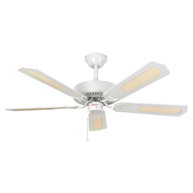 Fantasia 110033 Classic 52 Inch Ceiling Fan In White With Matt White/White And Cane Blades