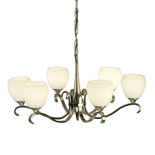 Interiors 1900 63443 Columbia 6 Light Ceiling Pendant In Nickel With Matt Opal Glass Shades