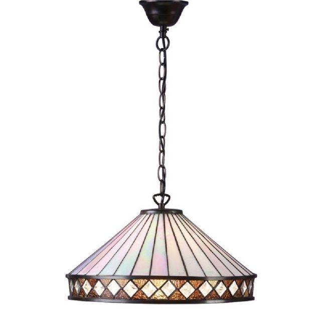 Interiors 1900 64147 Fargo Tiffany Large 1 Light Ceiling Pendant With Shade