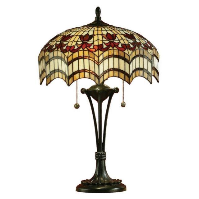 Interiors 1900 64377 Vesta Tiffany Medium 2 Light Table Lamp In Bronze With Shade