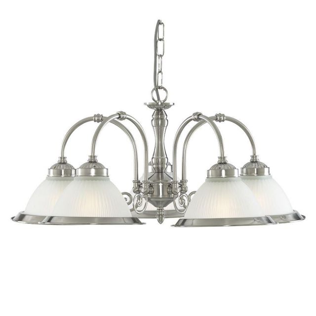 Searchlight 1045-5 American Diner 5 Light Ceiling Pendant Light In Satin Silver