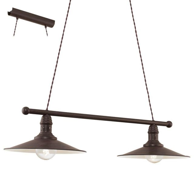 Eglo 49457 Stockbury 2 Light Ceiling Bar Pendant Light In Brown And Antique Beige