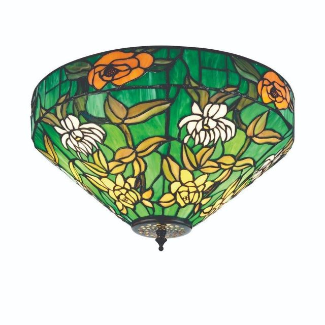 Interiors 1900 74439 Agapantha 2 Light Flush Ceiling Light In Vivid Green With Tiffany Shade