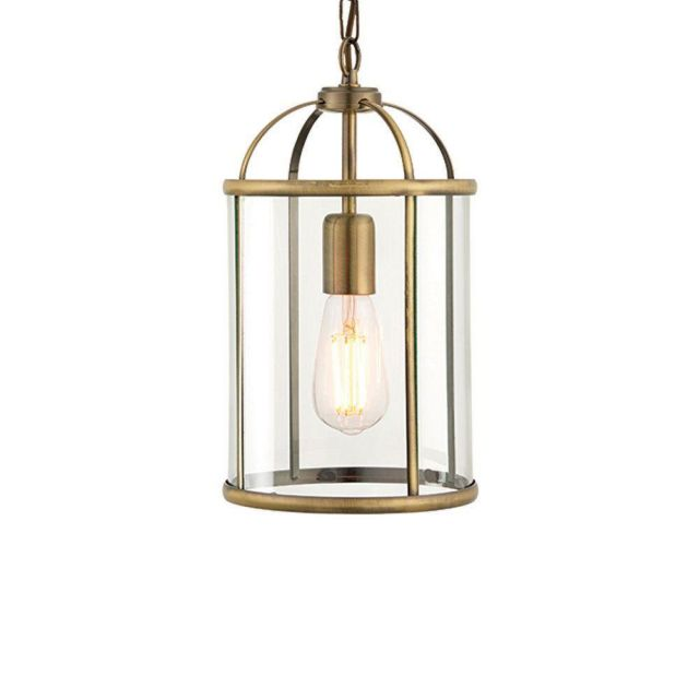 Endon 69454 Lambeth 1 Light Ceiling Pendant In Antique Brass And Clear Glass