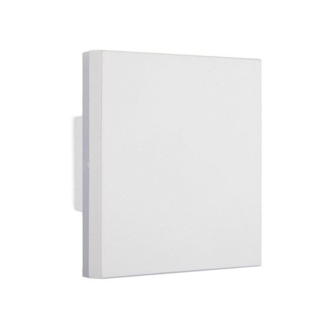 Mantra M6537 Bora 1 Light Outdoor LED Square Wall Light In White And Frosted Glass