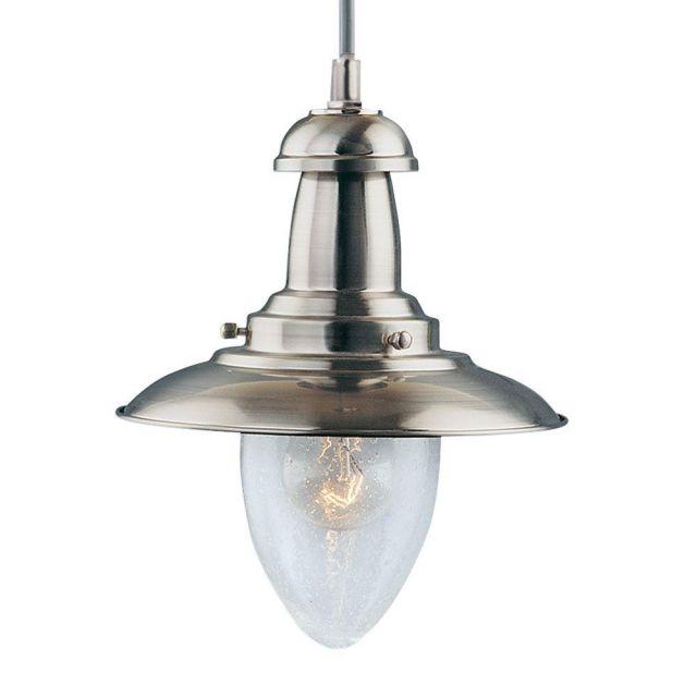 Searchlight 5787SS Fisherman Satin Silver Single Ceiling Pendant Light