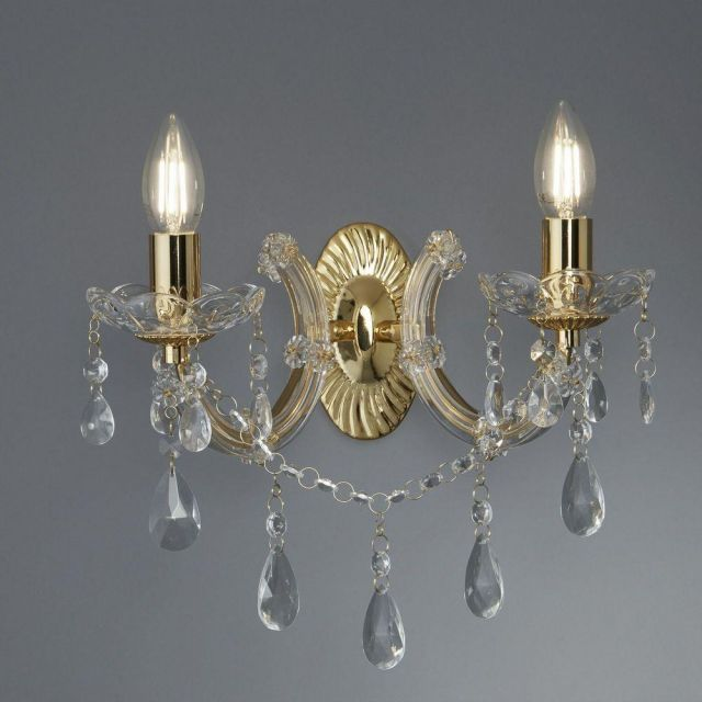 Searchlight 699-2 Marie Therese 2 Light Wall Light In Polished Brass