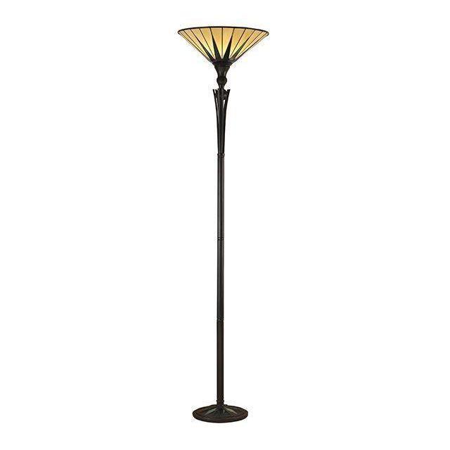 Interiors 1900 64042 Tiffany Dark Star 1 Light Uplighter Floor Lamp - Height: 1760mm