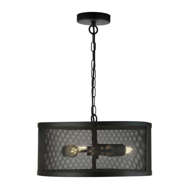 Searchlight 12483-3BK Fishnet 3 Light Ceiling Pendant Light In Matt Black