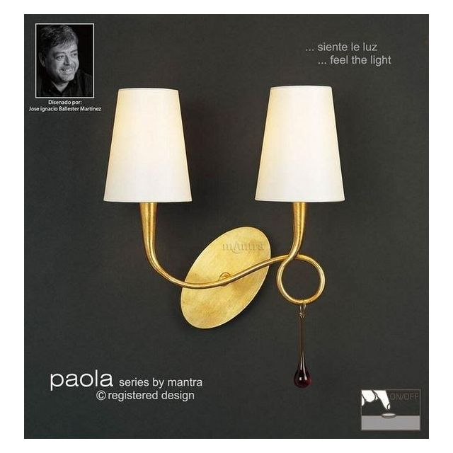 M0547/S Paola 2 Lt Gold Switched Wall Lamp With Cream Shades
