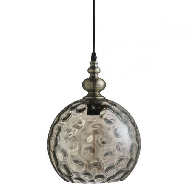 Searchlight 2020AM Indiana 1 Light Ball Ceiling Pendant Light In Antique Brass With Amber Glass