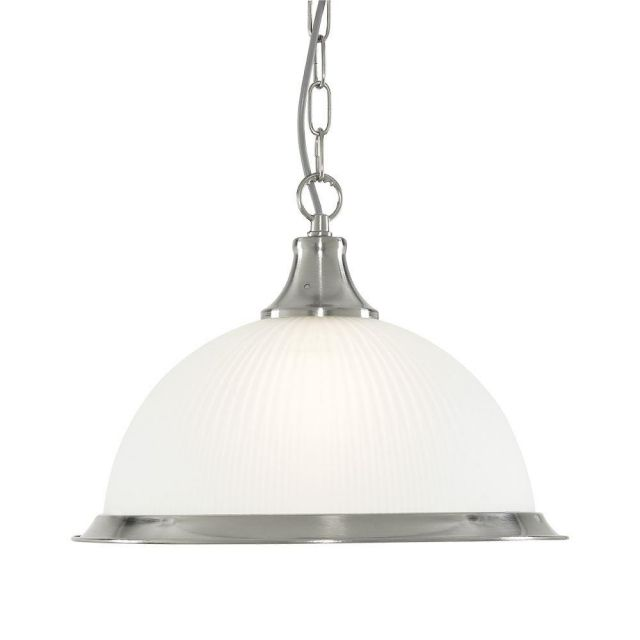 Searchlight 1044 American Diner 1 Light Ceiling Pendant Light In Satin Silver