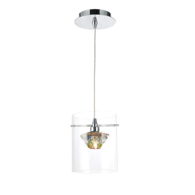Dar DEC0108 Decade 1 Light Dichroic Glass Polished Chrome Ceiling Pendant