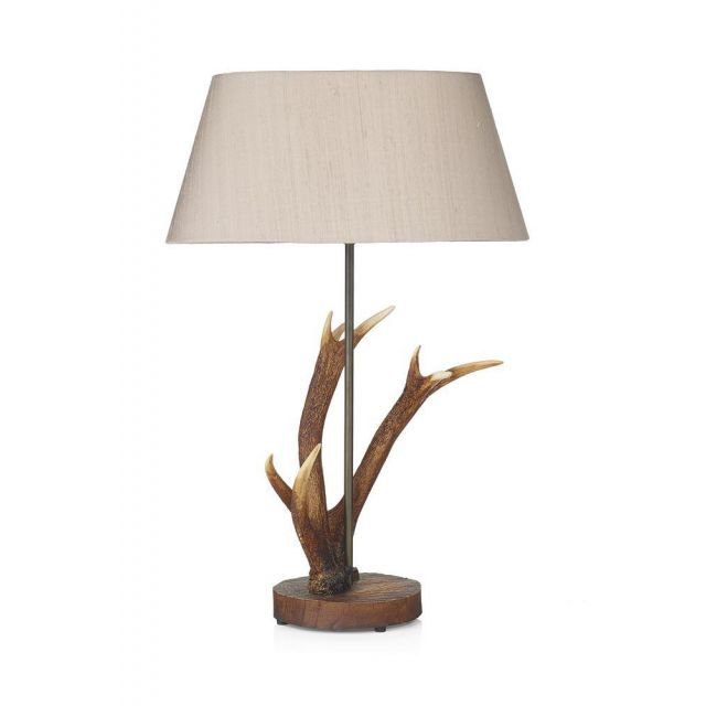 David Hunt Lighting ANT4129 + LEX1501/GD Antler Table Lamp Taupe/Gold Shade