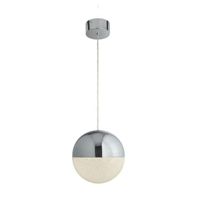 Searchlight 5881CC Marbles 1 Light Ceiling Pendant In Chrome And Crushed Ice - Dia: 250mm