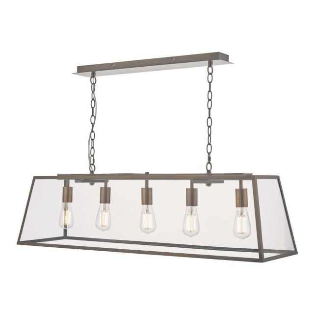 Dar ACA0564 Academy 5 Light Bar Pendant In Copper With Clear Glass