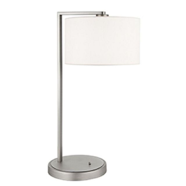 Table Lamp In Matt Nickel With Vintage White Faux Silk Shade
