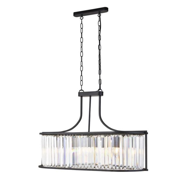 Searchlight 8095-5BK Victoria 5 Light Ceiling Pendant In Black And Crystal Glass - Dia: 300mm