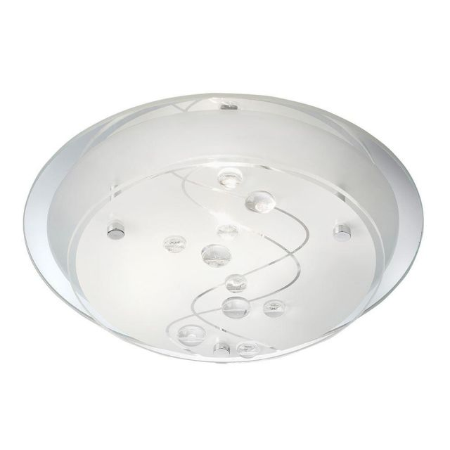 Searchlight 3020-25CC Flush Ceiling Light with Frosted Patterned Glass