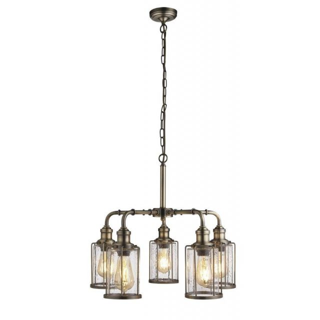 Searchlight 1265-5AB Pipes 5 Light Ceiling Pendant Light In Antique Brass