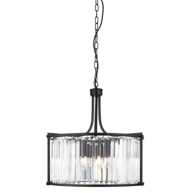 Searchlight 8295-5BK Victoria 5 Light Ceiling Pendant In Black And Crystal Glass - Dia: 500mm