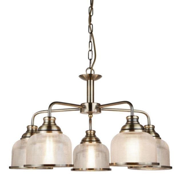 Searchlight 1685-5AB Bistro II Five Light MultiArm Ceiling Light In Antique Brass With Glass Shades