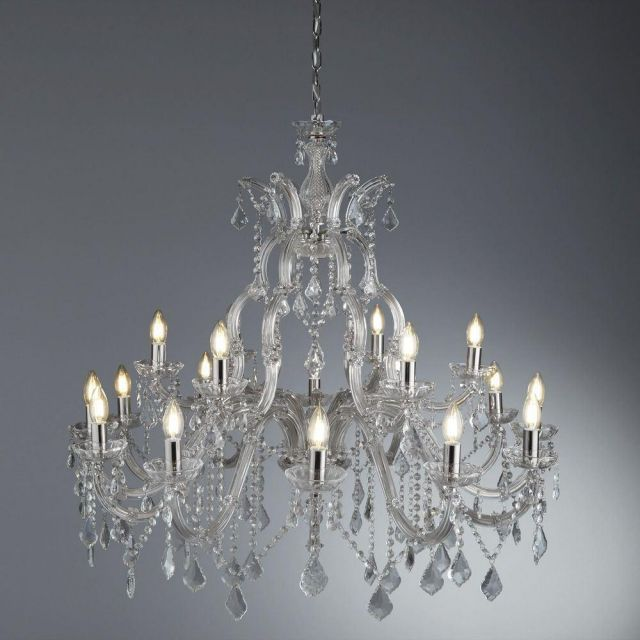 Searchlight 3314-18 Marie Therese 18 Light Ceiling Chandelier In Chrome