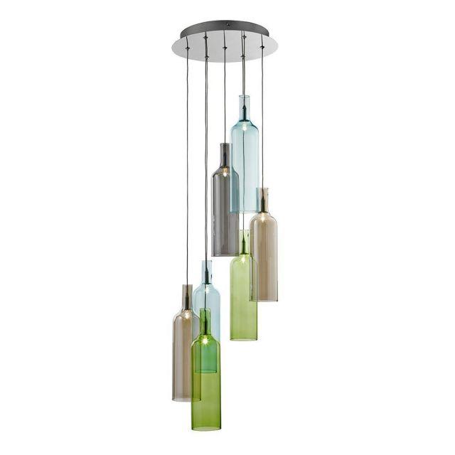 Searchlight 7257-7 Vibrant 7 Light Coloured Glass Pendant light