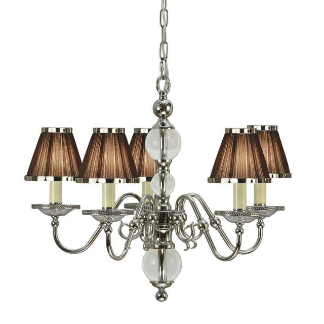 Interiors 1900 63716 Tilburg Nickel 5 Light Ceiling Pendant Light With Chocolate Shades In Nickel