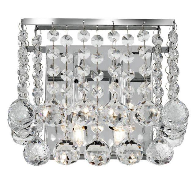 Searchlight 5402-2CC Hanna Chrome And Crystal 2 Light Wall Lamp