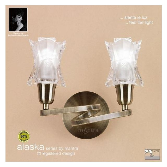 M8614AB/S Alaska Low Energy 2Lt Antique Brass Switched Wall Lamp