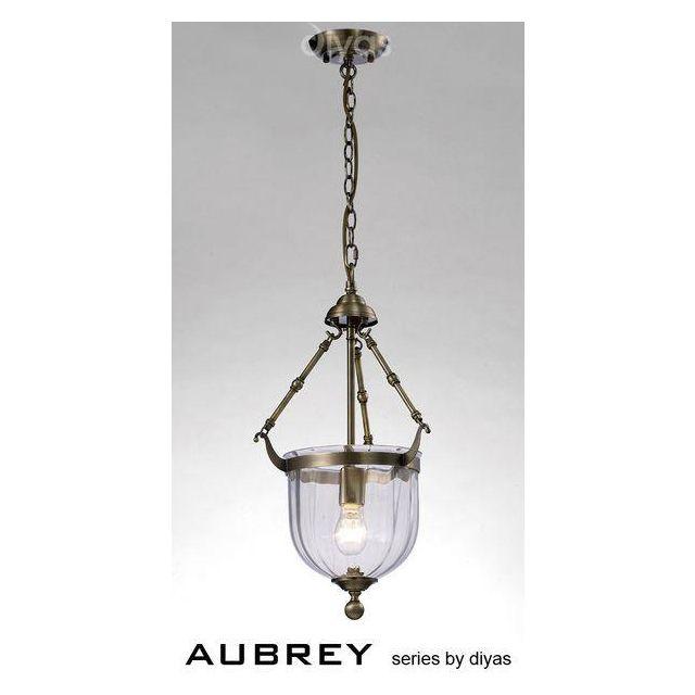 IL31075 Aubrey 1 Light Antique Brass Ceiling Pendant