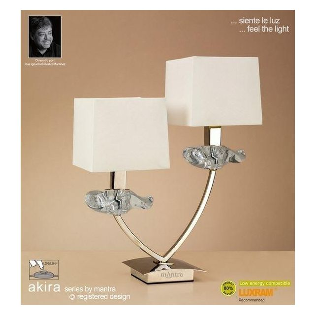 M0790AB Akira Antique Brass 2Lt Table Lamp With Cream Shades