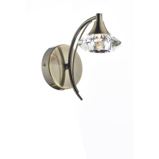 Dar LUT0775 Luther Single Switched Wall Light - Antique Brass