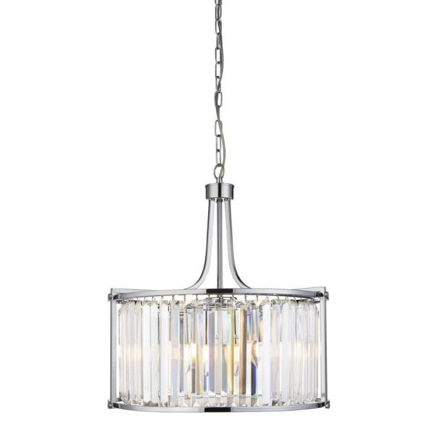 Searchlight 8295-5CC Victoria 5 Light Ceiling Pendant In Chrome And Crystal Glass - Dia: 490mm