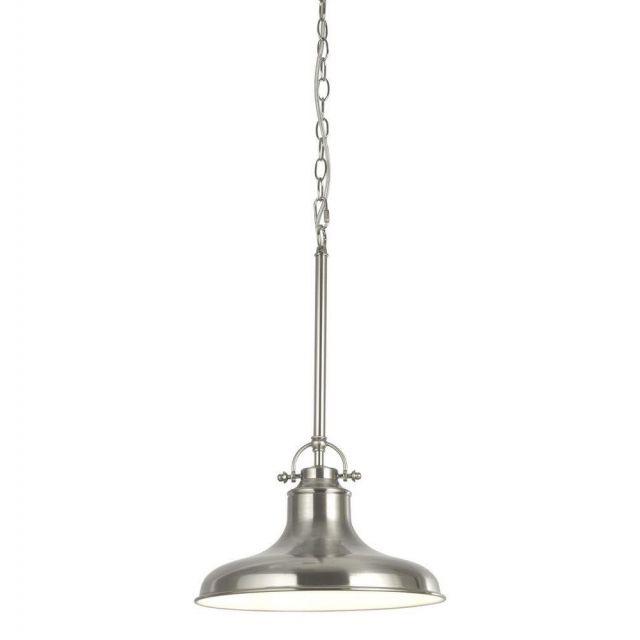 Searchlight 3181SS Dallas 1 Light Ceiling Pendant In Satin Silver