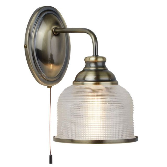 Searchlight 2671-1AB Bistro II One Light Wall Light In Antique Brass With Glass Shades