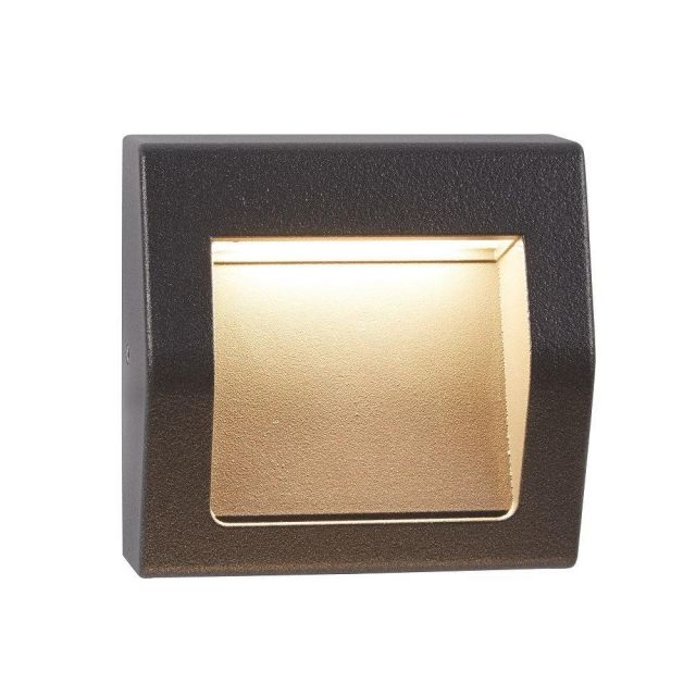 Searchlight 0221GY Ankle Square Recessed Outdoor Wall Light With Curved Front In Grey-Length: 90mm