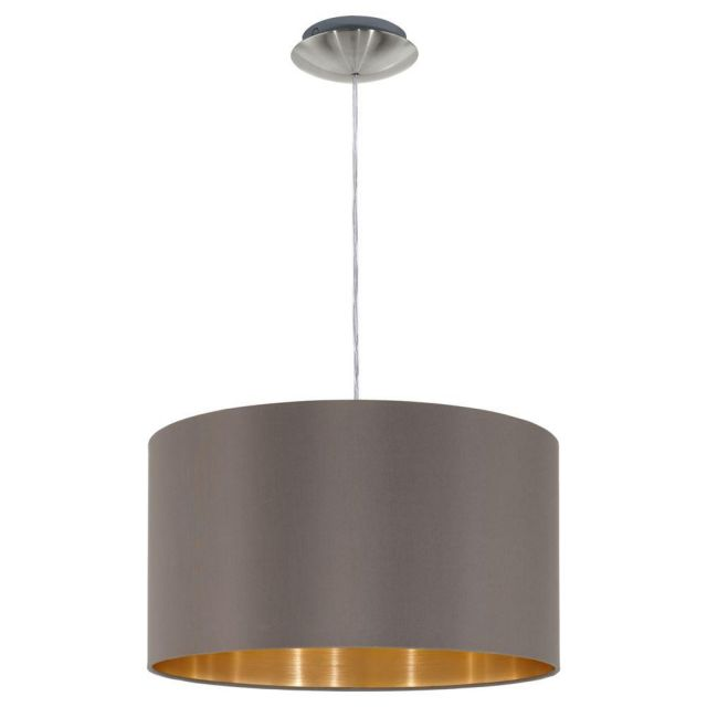 Eglo 31603 Maserlo One Light Ceiling Pendant Light In Satin Nickel With Cappucino And Gold Shade