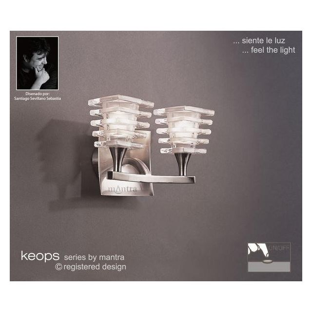 M0029/S Keops 2 Light Satin Nickel Switched Wall Lamp